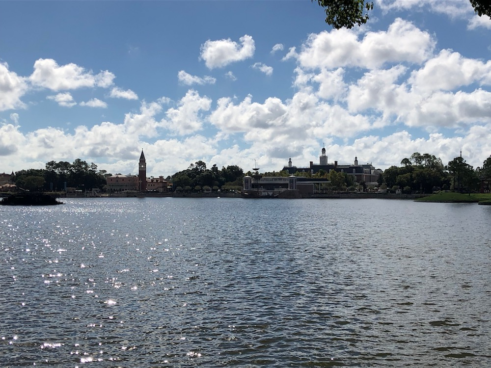 Long view over lake of Italy and USA at Epcot