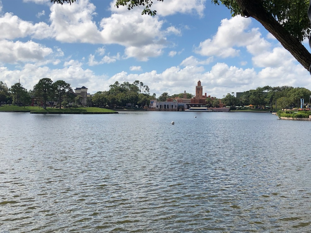 View over lake of Japan and Morocco at Epcot