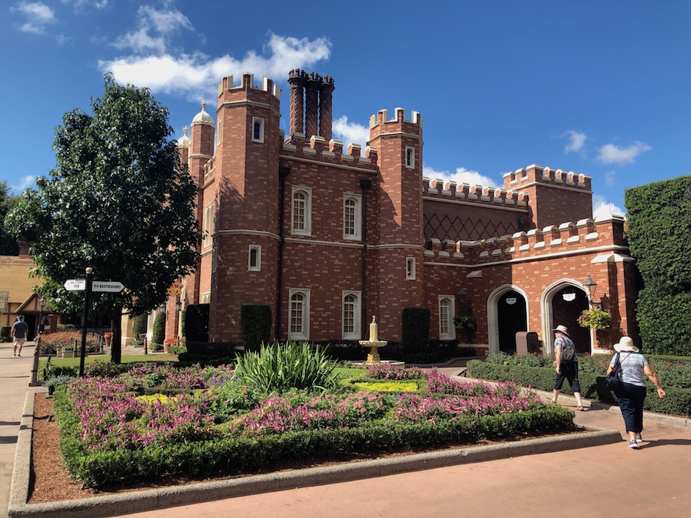 Brick castle facade in the UK at Epcot